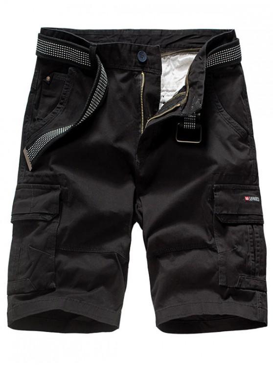 buy Solid Color Applique Cargo Shorts - BLACK 38