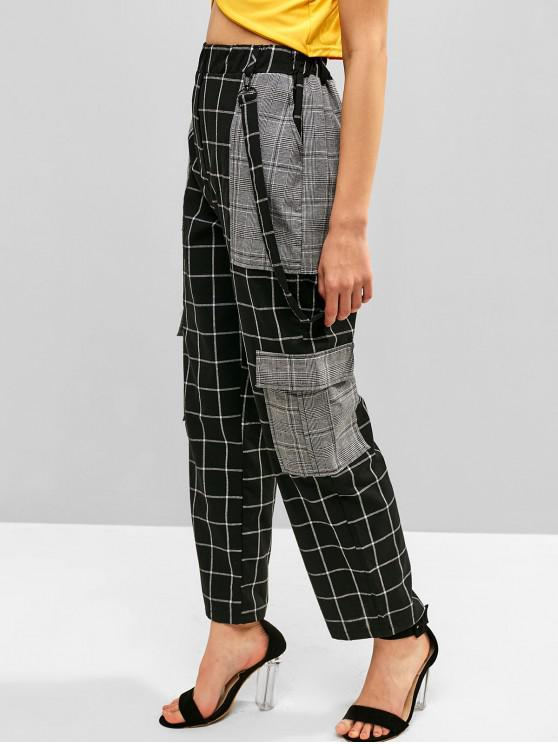 sale High Waist Belt Embellished Plaid Pants - BLACK S