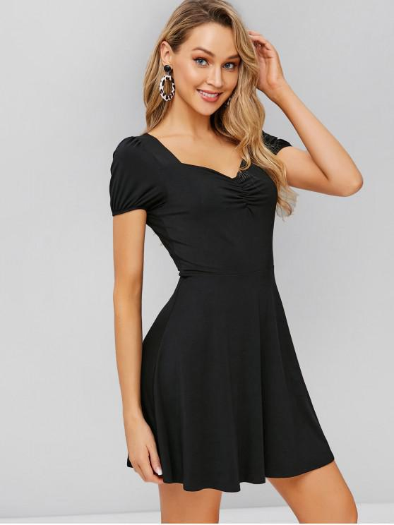 trendy ZAFUL Cinched Fit and Flare Dress - BLACK S