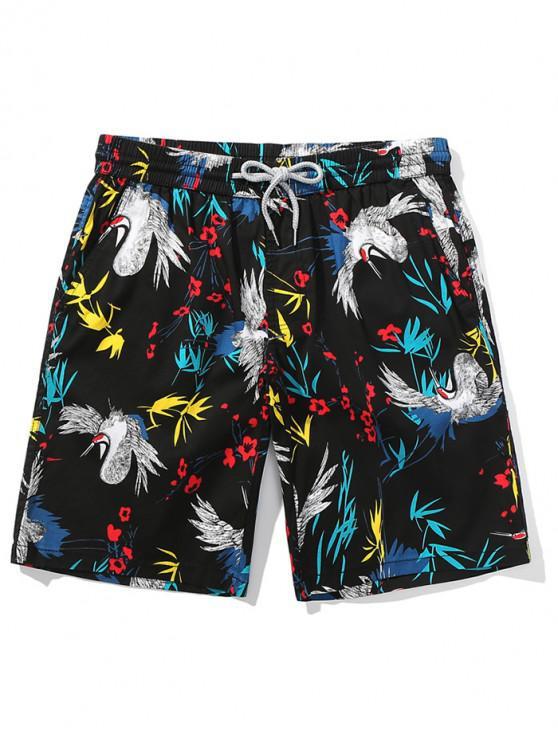Shorts de playa con estampado de pájaros florales - Negro S