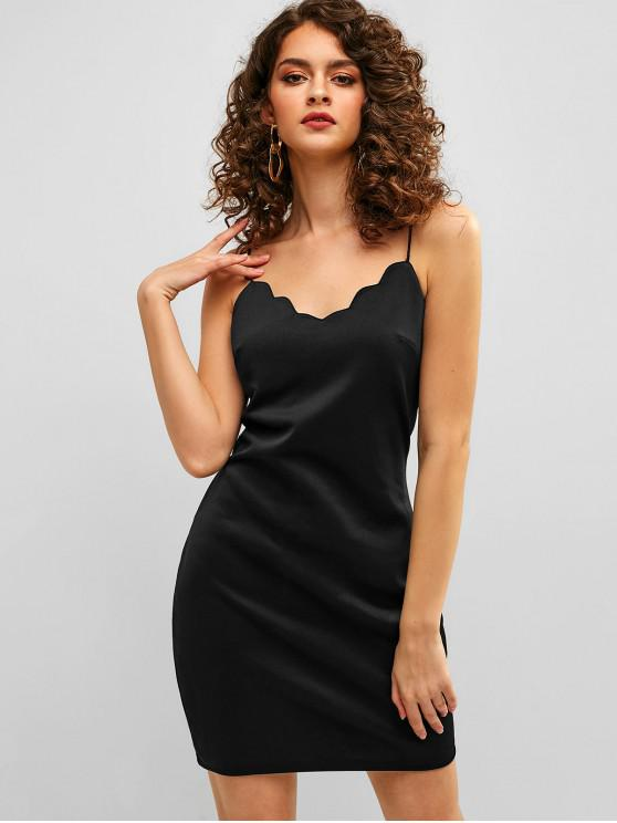 best ZAFUL Scalloped Short Cami Fitted Dress - BLACK M