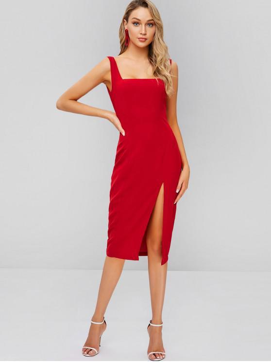 shops ZAFUL Slit Square Sleeveless Sheath Dress - RED WINE S