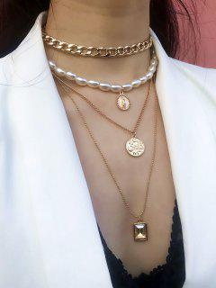 Multilayer Faux Pearl Chain Necklace - Gold
