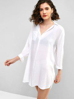 Slit Front Pocket Casual Dress - White M