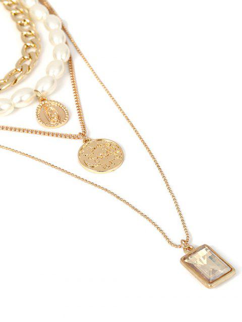 womens Multilayer Faux Pearl Chain Necklace - GOLD  Mobile