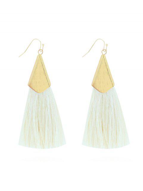 shop Long Threading Tassel Hook Earrings - WHITE  Mobile