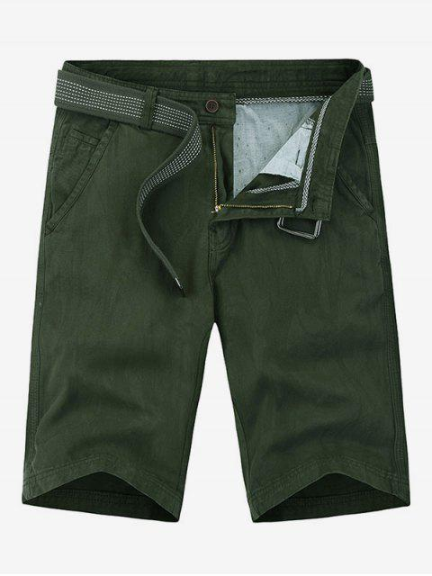 Pantalones cortos de denim de color sólido de apliques - Ejercito Verde 32 Mobile