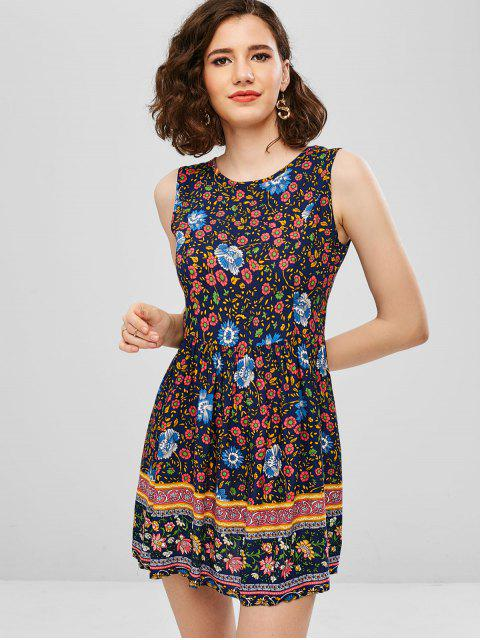 women's Mini Ethnic Floral Boho A Line Dress - BLUE M Mobile