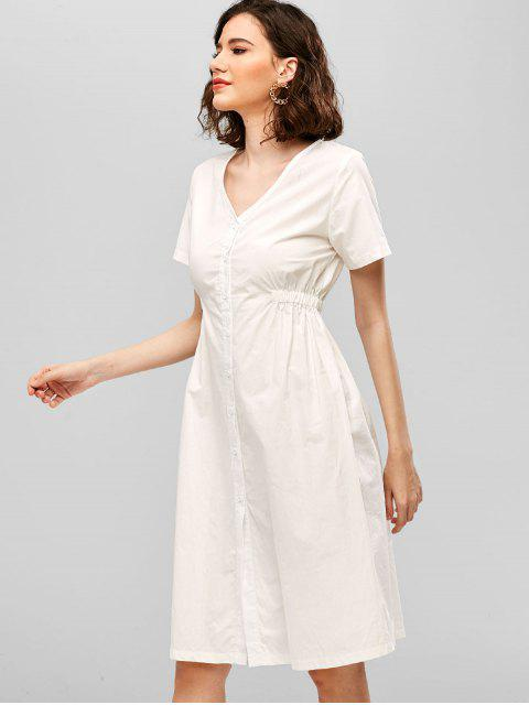 buy ZAFUL V Neck Button Up Casual Dress - WHITE S Mobile