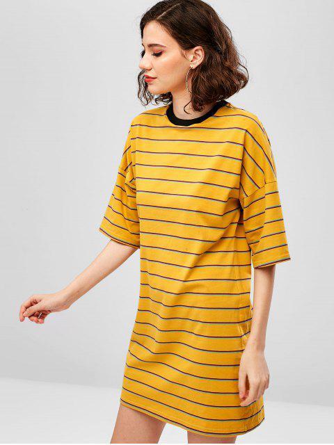 latest ZAFUL Drop Shoulder Striped Shift Tee Dress - SUN YELLOW S Mobile