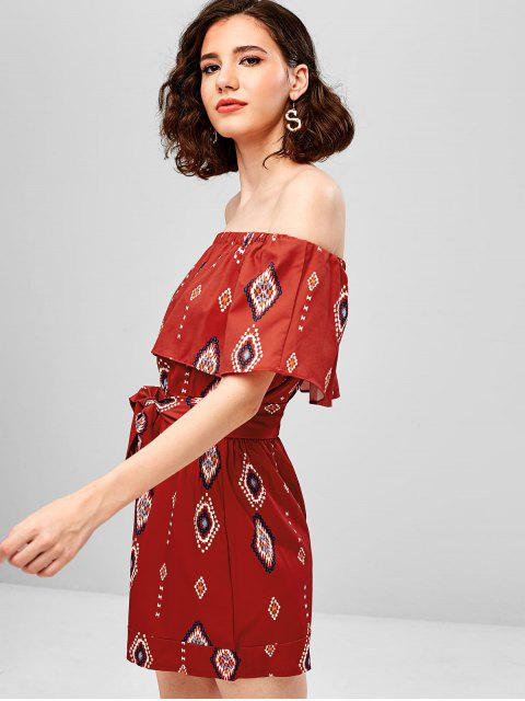 hot Geometric Print Belted Overlay Romper - CHESTNUT RED M Mobile