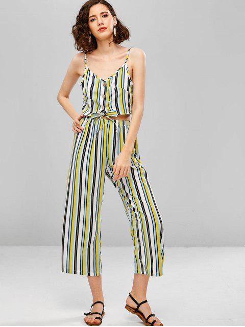 outfits Striped Buttoned Cami Top and Loose Pants Set - GOLDENROD XL Mobile