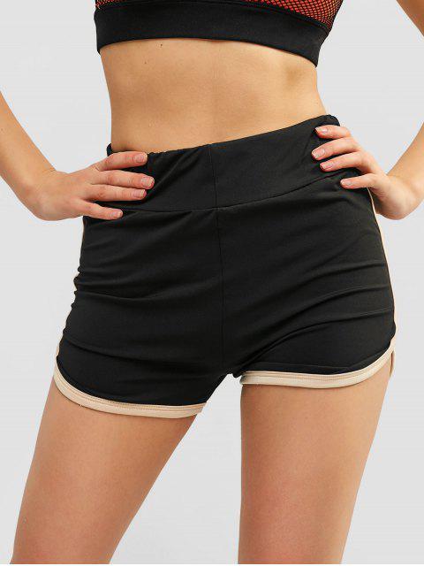 online Smocked Pockets Plain Shorts - BLACK XL Mobile
