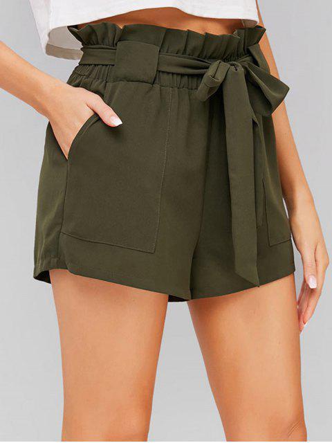 shop ZAFUL High Waisted Shorts - ARMY GREEN M Mobile