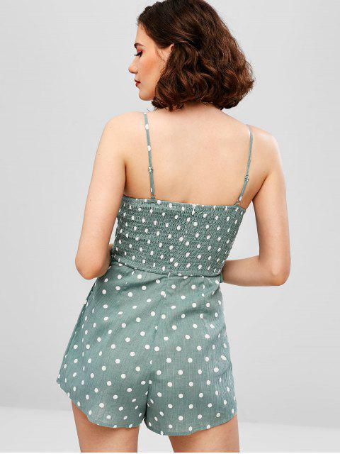 women's Polka Dot Shirred Cut Out Romper - SEA TURTLE GREEN M Mobile