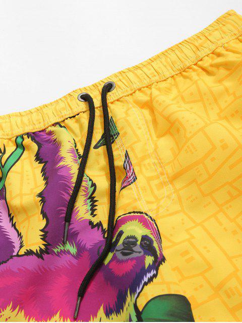 lady Animal Geometric Print Board Shorts - SUN YELLOW 2XL Mobile