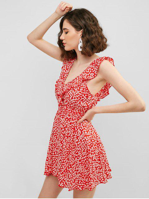 shop Ruffle Floral Sundress - RED L Mobile