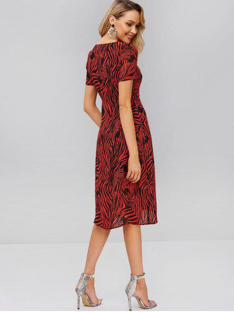 shop Zebra Print Chiffon Dress - MULTI-A XL Mobile