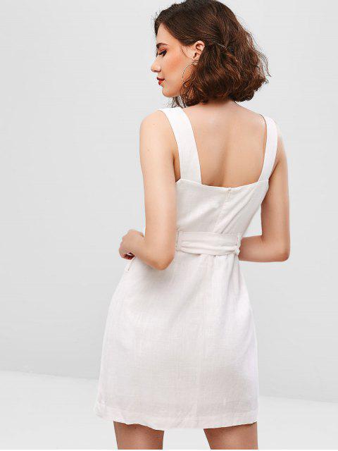 ZAFUL Robe Superposée Ceinturée Simple Sans Manches - Blanc Lait L Mobile