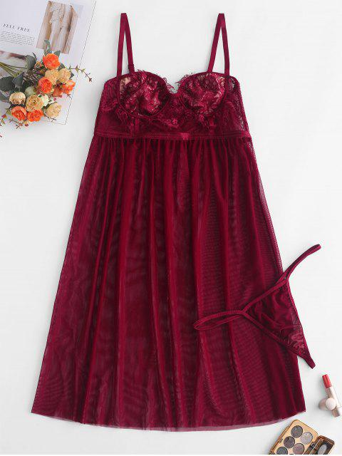 buy Lace Insert See Thru Mesh Babydoll - RED WINE L Mobile