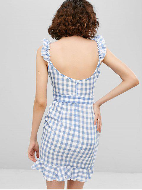 hot Ruffles Plaid Belted Asymmetric Dress - LIGHT BLUE XL Mobile