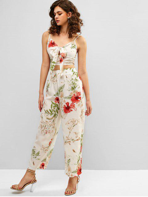 new ZAFUL Knot Flower Cami Top and Pants Set - WHITE M Mobile