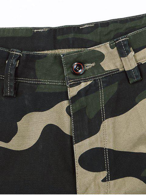 Zipper Fly Camuflaje Imprimir Shorts Casual - Multicolor 34 Mobile
