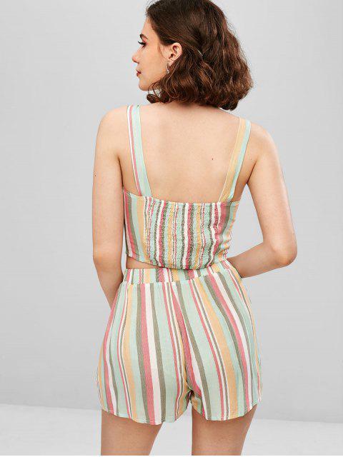 best ZAFUL Striped Crop Cami Top and Shorts Set - MULTI M Mobile
