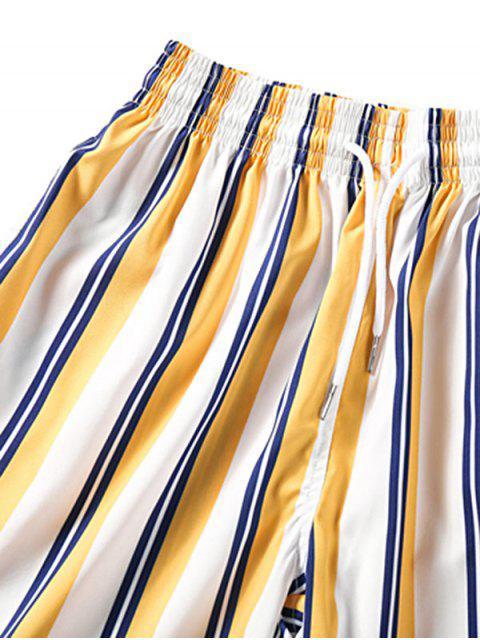 hot Striped Design Casual Shorts - GOLDENROD L Mobile