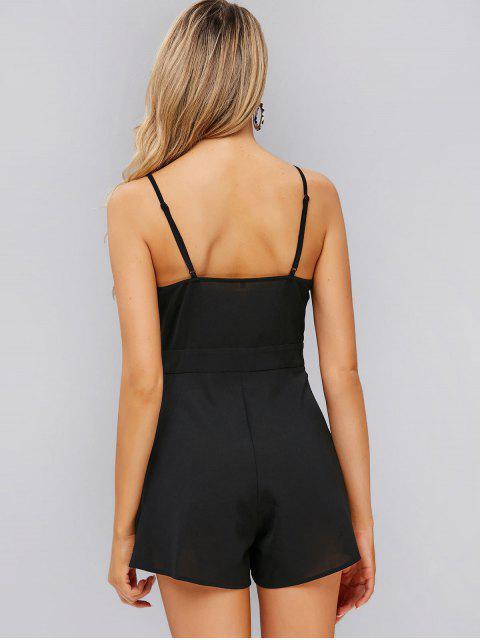 chic ZAFUL Tie Front Wide Leg Cami Romper - BLACK S Mobile