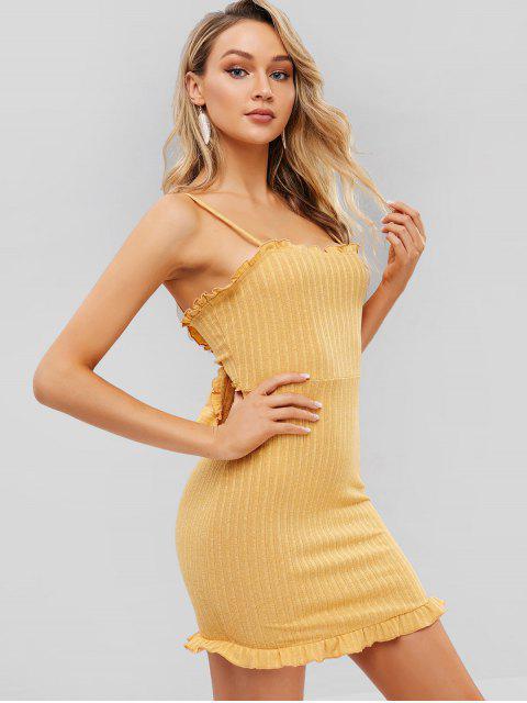 latest ZAFUL Knotted Ruffles Knit Cami Dress - BEE YELLOW S Mobile