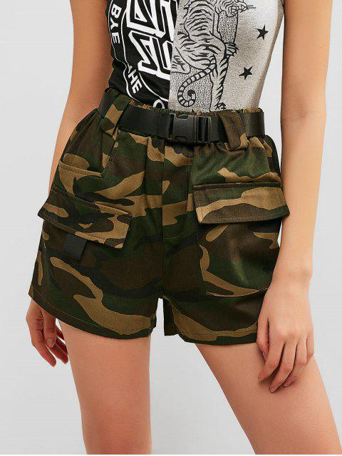 new Buckled Belt Camo Shorts - FERN GREEN M Mobile