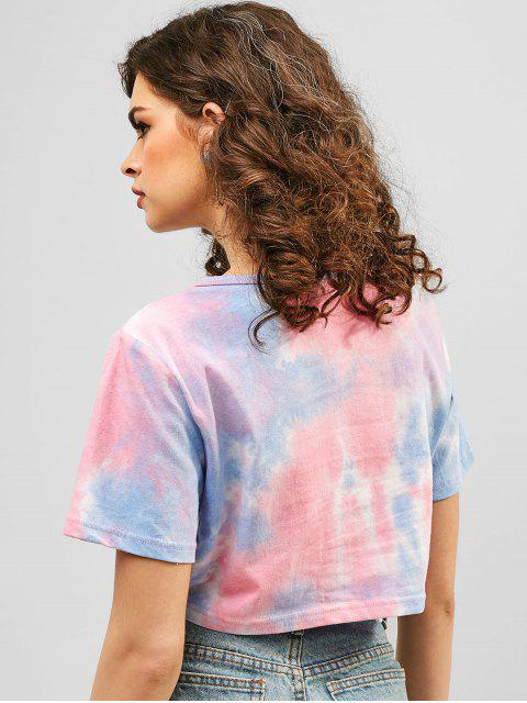 hot ZAFUL Graphic Tie Dye Crop Tee - MULTI S Mobile