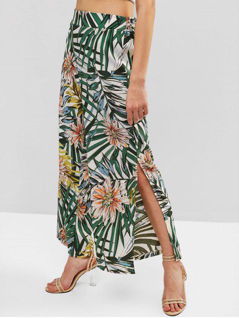 Hoja de flor tropical dividida pantalones de pierna ancha - Multicolor-B L Mobile