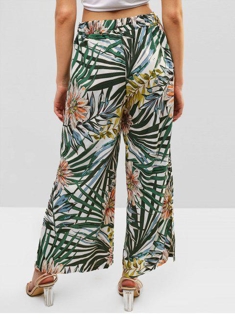 Hoja de flor tropical dividida pantalones de pierna ancha - Multicolor-B XL Mobile