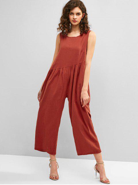 new Open Back Wide Leg Sleeveless Jumpsuit - CHESTNUT RED M Mobile