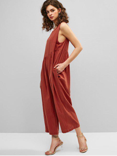 Ärmelloser Overall mit Weitem Bein und Offenem Rücken - Kastanie Rot S Mobile