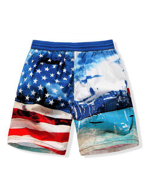 Pantalones cortos de playa con estampado de bandera estadounidense retro - Azul de Arándanos L Mobile