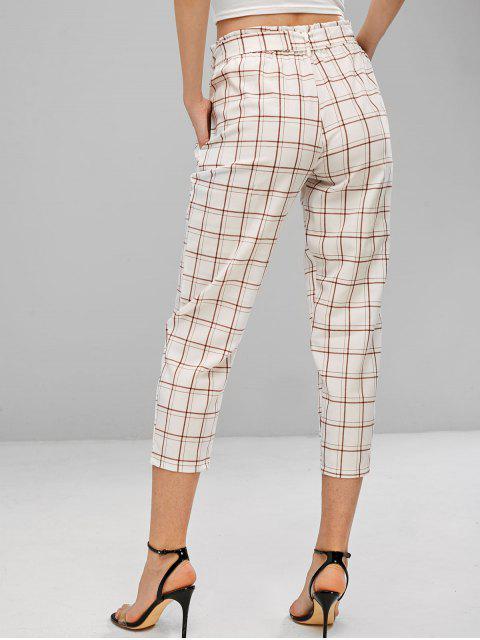 Pantalones Cinturón A Cuadros De Cintura Alta - Blanco M Mobile