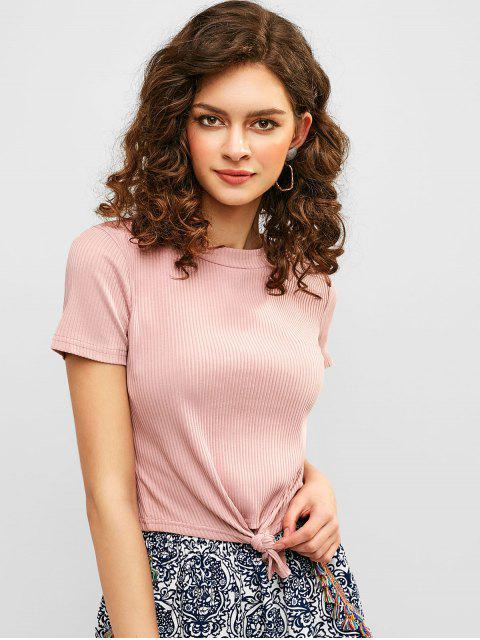 ladies ZAFUL Tie Front Ribbed Cropped Tee - LIGHT PINK S Mobile