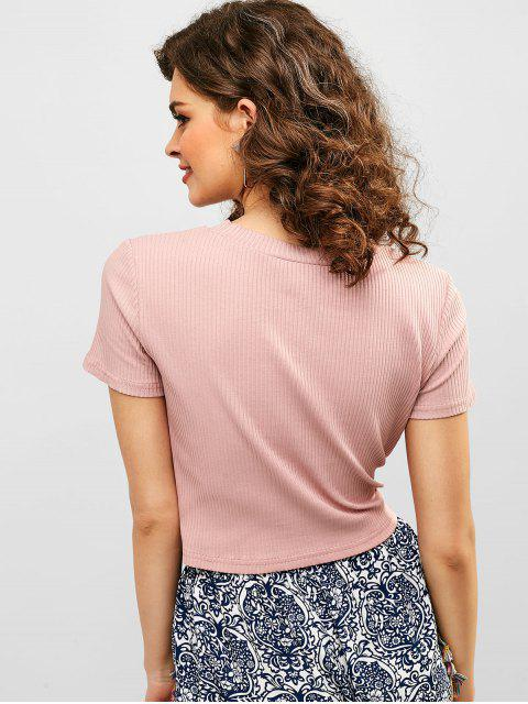 hot ZAFUL Tie Front Ribbed Cropped Tee - LIGHT PINK M Mobile