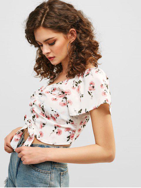 unique Cinched Floral Print Crop Blouse - WHITE L Mobile