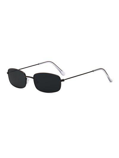 ce5138efa5 Rectangle Frame Vintage Small Metal Frame Sunglasses - Black Eel ...