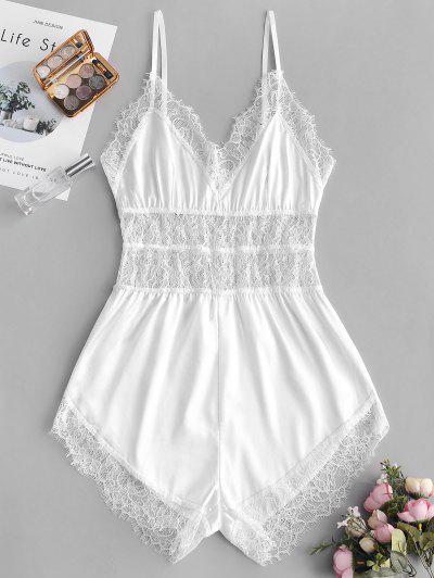 b8385f6c33d1 Lace Insert Slip Pajama Romper - White S ...