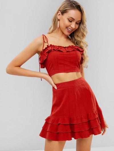 3e9d8601660fd9 ZAFUL Cami Flounce Top And Layered Skirt Set - Cherry Red S