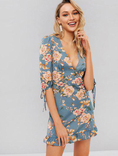 a60af570550 ZAFUL Flower Plunge Mini Flounce Dress - Blue Hosta L ...