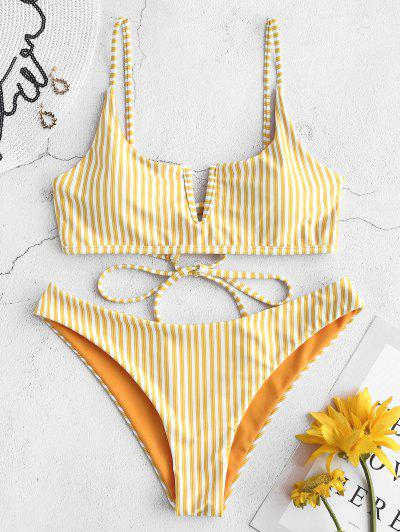 1d2dcdcd32d ZAFUL V-wired Striped Bikini Set - Rubber Ducky Yellow M ...