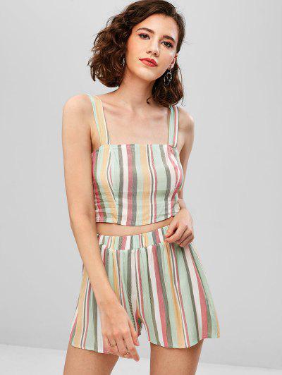 682db5458e29a ZAFUL Striped Crop Cami Top And Shorts Set - Multi L