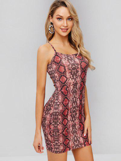 a4dfd846e95 Snakeskin Print Criss Cross Cami Dress - Multi S ...