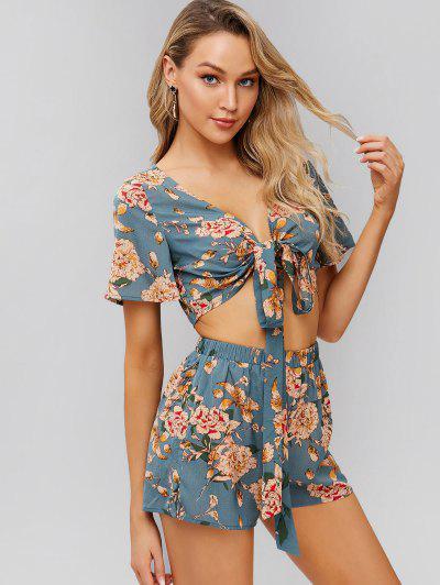 0898aa6070 Conjunto De Top Y Pantalones Cortos Con Estampado Floral Anudado ZAFUL -  Azul De Koi M